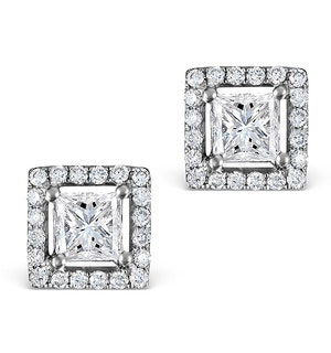 Halo Diamond Earrings - Ella Princess Cut 18K White Gold 1.40ct H/Si