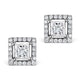 Halo Diamond Earrings - Ella Princess Cut 18K White Gold 1.40ct G/Vs - image 1