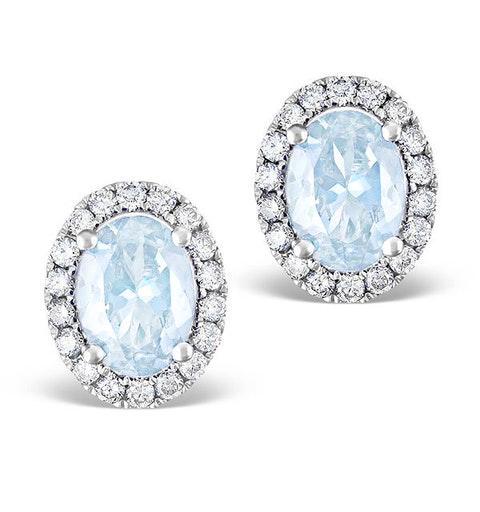 Aquamarine 1.40CT And Diamond 18K White Gold Earrings - image 1