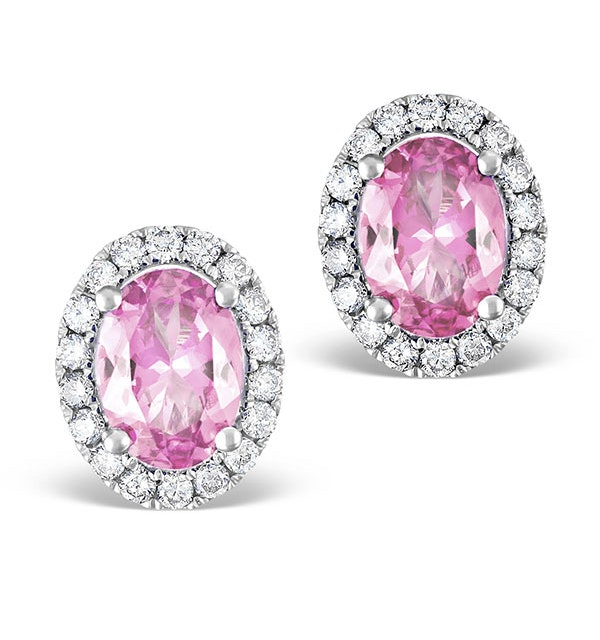 Pink Sapphire 7 X 5mm and Diamond 18K White Gold Earrings - image 1
