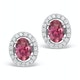 Pink Tourmaline 1.60CT and Diamond Halo Earrings 18K White Gold FG29 - image 1