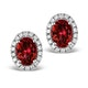 Ruby 2.30CT And Diamond 18K White Gold Earrings - image 1