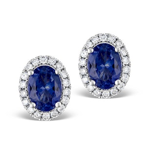 Sapphire 7mm x 5mm And Diamond 18K White Gold Earrings
