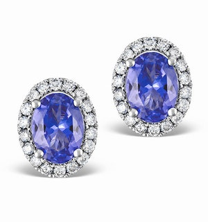 Tanzanite 7 x 5mm And Diamond 18K White Gold Earrings