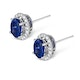 Sapphire 7mm x 5mm And Diamond 18K White Gold Earrings - image 2