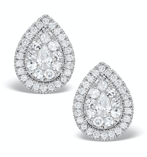 Halo Diamond Earrings 1.20ct Pear Shaped Galileo in 18K White Gold