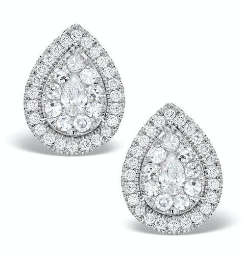 Halo Diamond Earrings 1.20ct Pear Shaped Galileo in 18K White Gold - image 1