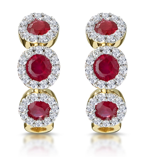 5c5a4bdd0ee1f Ruby and Diamond Trilogy Earrings in 18K Gold - Asteria Collection