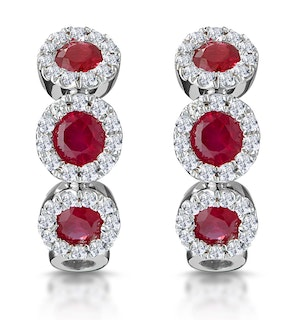 Ruby and Diamond Trilogy Earrings 18K White Gold - Asteria Collection