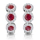 Ruby and Diamond Trilogy Earrings 18K White Gold - Asteria Collection - image 1