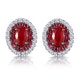 Ruby and Diamond Halo Earrings in 18K Gold - Asteria Collection - image 1