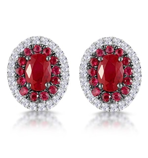 Ruby and Diamond Halo Earrings in 18K White Gold - Asteria Collection