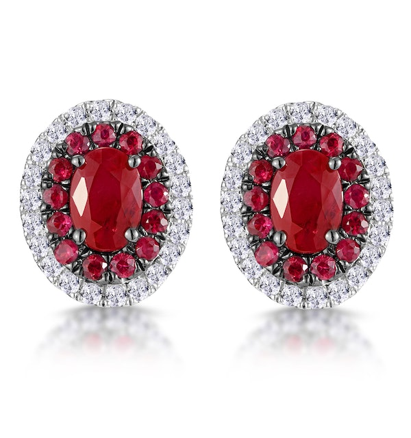 Ruby and Diamond Halo Earrings in 18K White Gold - Asteria Collection - image 1