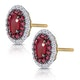 Ruby and Diamond Halo Earrings in 18K Gold - Asteria Collection - image 3