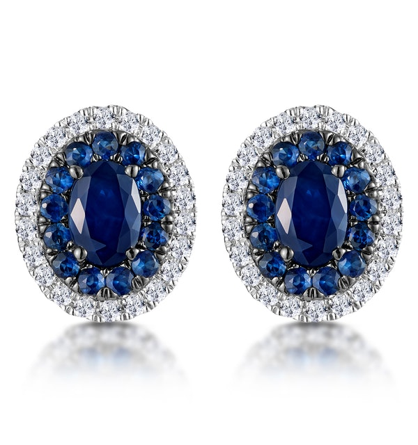 Sapphire and Diamond Halo Earrings 18K White Gold - Asteria Collection - image 1