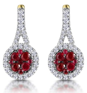 0.75ct Ruby Diamond Halo Earrings in 18K Gold - Asteria Collection
