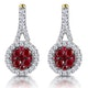 0.75ct Ruby Diamond Halo Earrings in 18K Gold - Asteria Collection - image 1