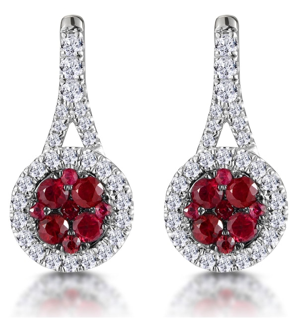 0.75ct Ruby and Diamond Halo Earrings 18KW Gold - Asteria Collection - image 1
