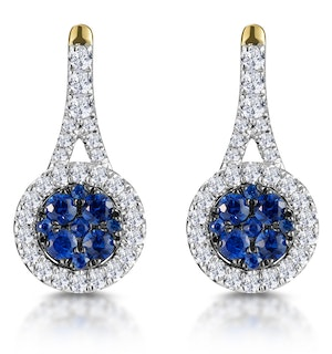 0.75ct Sapphire and Diamond Halo Earrings 18K Gold Asteria Collection