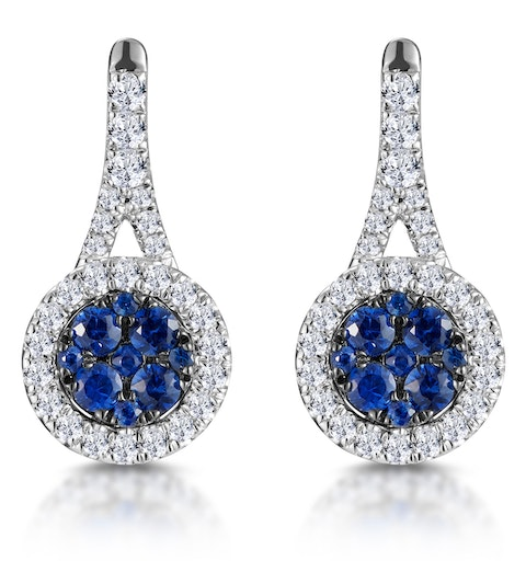 0.75ct Sapphire and Diamond Halo Asteria Earrings 18KW Gold - image 1