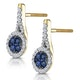 0.75ct Sapphire and Diamond Halo Earrings 18K Gold Asteria Collection - image 3