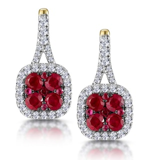1.05ct Ruby and Diamond Halo Earrings in 18K Gold - Asteria Collection