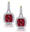 1.05ct Ruby and Diamond Halo Earrings in 18K Gold - Asteria Collection - image 1