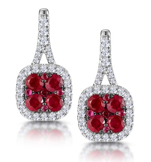 1.05ct Ruby and Diamond Halo Earrings 18KW Gold - Asteria Collection