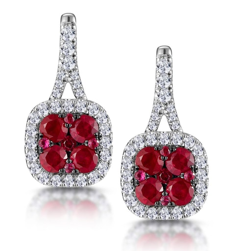 1.05ct Ruby and Diamond Halo Earrings 18KW Gold - Asteria Collection - image 1