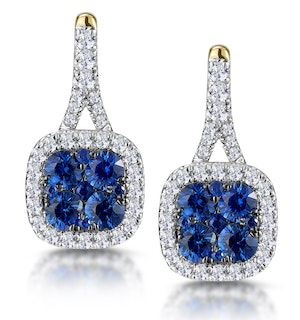 1ct Sapphire and Diamond Halo Earrings 18K Gold - Asteria Collection