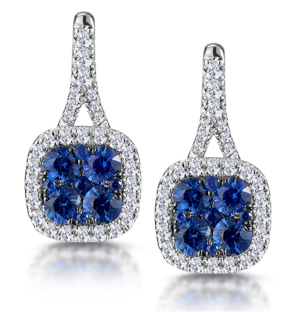 1ct Sapphire and Diamond Halo Earrings 18KW Gold - Asteria Collection - image 1