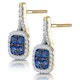 1ct Sapphire and Diamond Halo Earrings 18K Gold - Asteria Collection - image 3