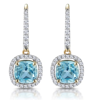 2ct Blue Topaz and Diamond Halo Earrings 18K Gold - Asteria Collection