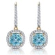 1ct Blue Topaz and Diamond Halo Earrings 18K Gold - Asteria Collection - image 1