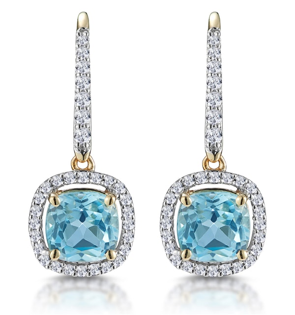 2ct Blue Topaz and Diamond Halo Earrings 18K Gold - Asteria Collection - image 1