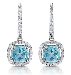 2ct Blue Topaz and Diamond Halo Earrings 18KW Gold Asteria Collection