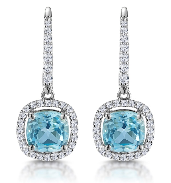 2ct Blue Topaz and Diamond Halo Earrings 18KW Gold Asteria Collection - image 1