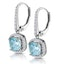 2ct Blue Topaz and Diamond Halo Earrings 18KW Gold Asteria Collection - image 3