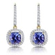 1ct Tanzanite and Diamond Halo Earrings 18K Gold - Asteria Collection - image 1