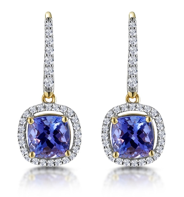 2ct Tanzanite and Diamond Halo Earrings 18K Gold - Asteria Collection - image 1