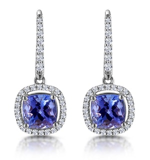 2ct Tanzanite and Diamond Halo Earrings 18KW Gold - Asteria Collection