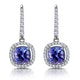 1ct Tanzanite and Diamond Halo Earrings 18KW Gold - Asteria Collection - image 1