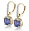 2ct Tanzanite and Diamond Halo Earrings 18K Gold - Asteria Collection - image 3