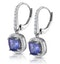 1ct Tanzanite and Diamond Halo Earrings 18KW Gold - Asteria Collection - image 3