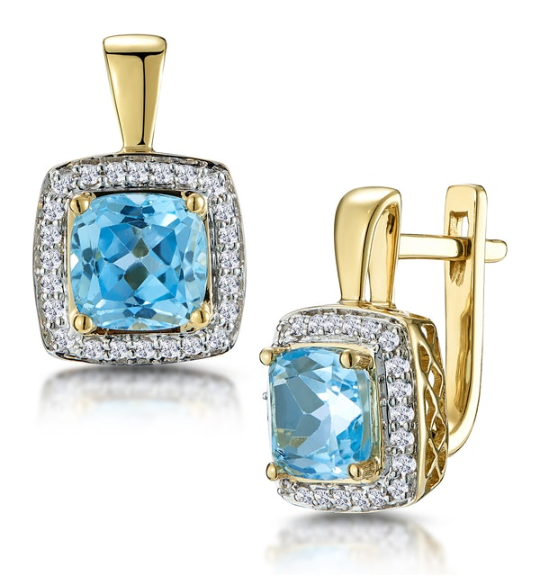 3ct Blue Topaz and Diamond Halo Earrings 18K Gold - Asteria Collection - image 1