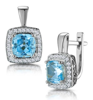 3ct Blue Topaz and Lab Diamond Halo Earrings 9KW Gold Asteria