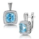 3ct Blue Topaz and Diamond Halo Earrings 18KW Gold Asteria Collection - image 1