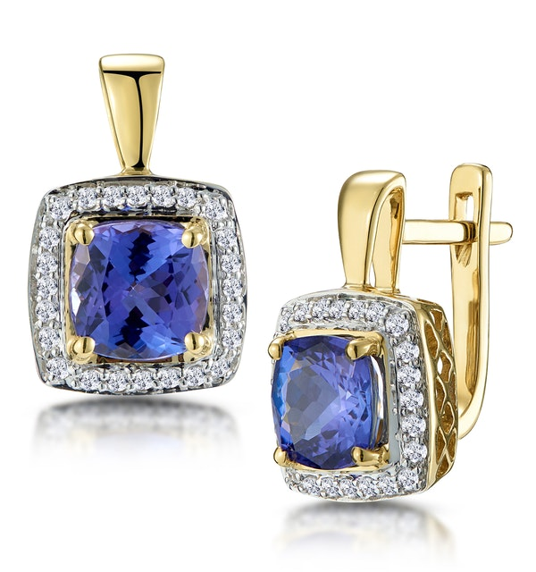 3ct Tanzanite and Diamond Halo Earrings 18K Gold - Asteria Collection - image 1