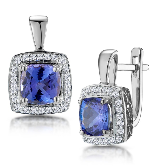 3ct Tanzanite and Diamond Halo Earrings 18KW Gold - Asteria Collection - image 1
