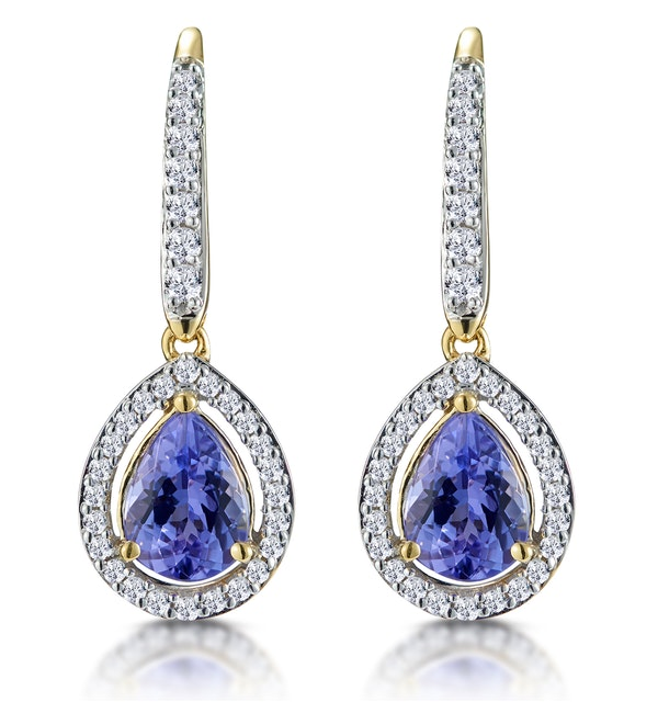 1.4ct Tanzanite and Diamond Halo Earrings 18K Gold Asteria Collection - image 1